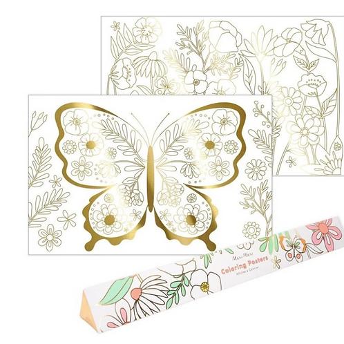 2 Posters à colorier papillons Meri Meri