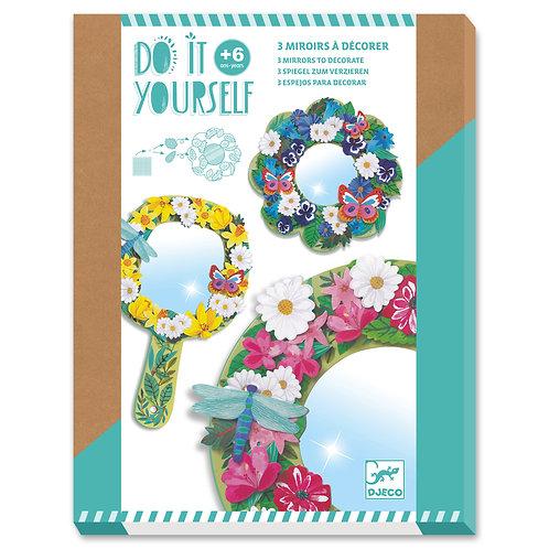 3 miroirs à décorer douceur florale