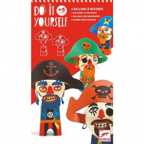 Ballons à décorer pirates rigolos - Do it Yourself Djeco