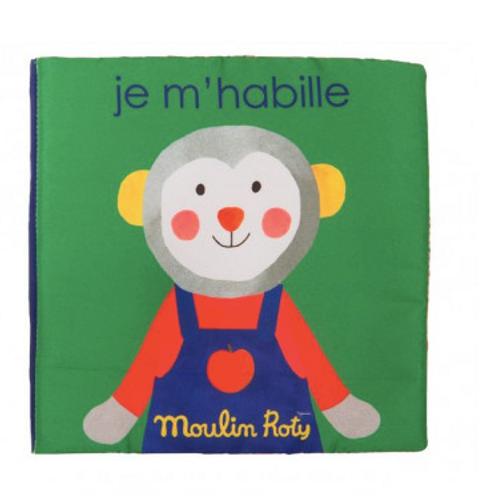 Livre tissu je m'habille Les popipop - Moulin Roty