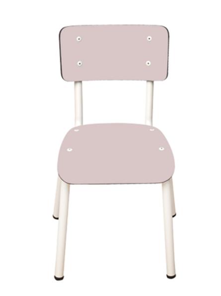 Chaise d'écolier Enfant Little Suzie – uni Rose Poudré Pieds Blancs