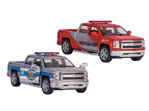 Voiture de police et pompiers Chevrolet Silverado, métal,