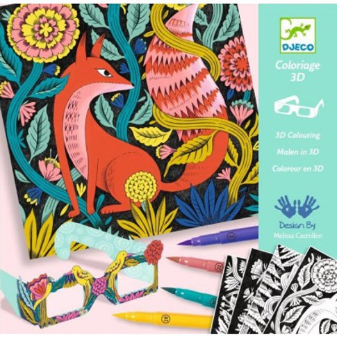 coloriage 3D Forêt fantastique Djeco