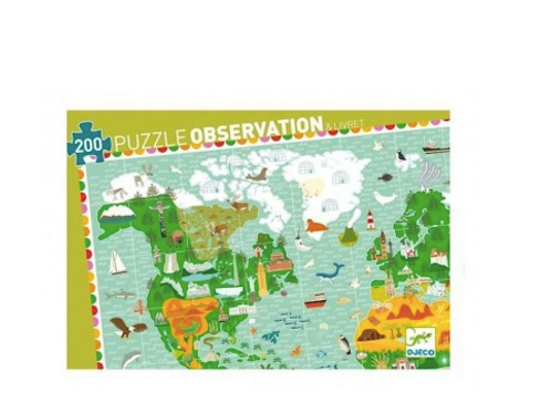 Puzzle d'observation Tour du monde 200 pièces -