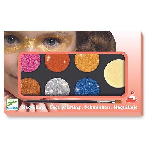 Maquillage palette 6 couleurs paillettes
