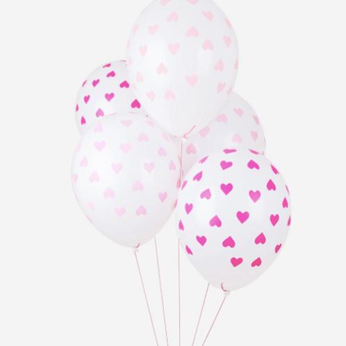 Ballons de baudruche : 5 ballons coeurs