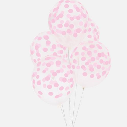5 ballons imprimés confettis roses