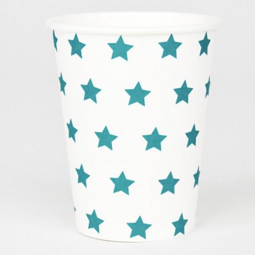 8 gobelets en carton avec des étoiles bleues