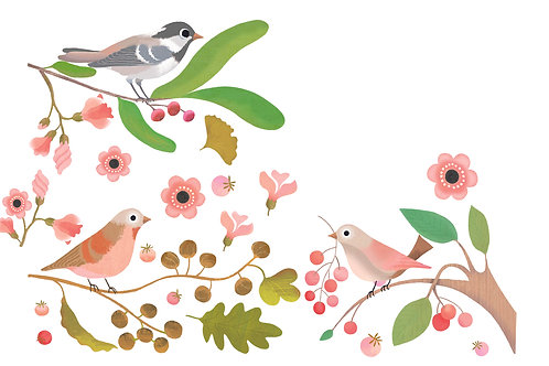 Stickers de fenêtre repositionnables 'Oiseaux romantiques'