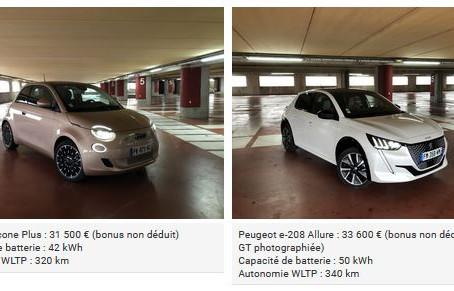 N° 193-Fiat 500 e vs Peugeot e-208 : laquelle est la plus branchée ?