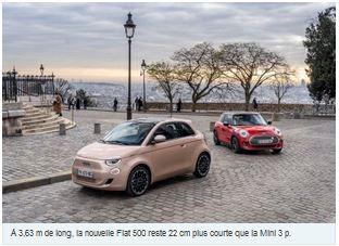 N° 181-Nouvelle Fiat 500 vs Mini Cooper SE : le match des électriques chic !