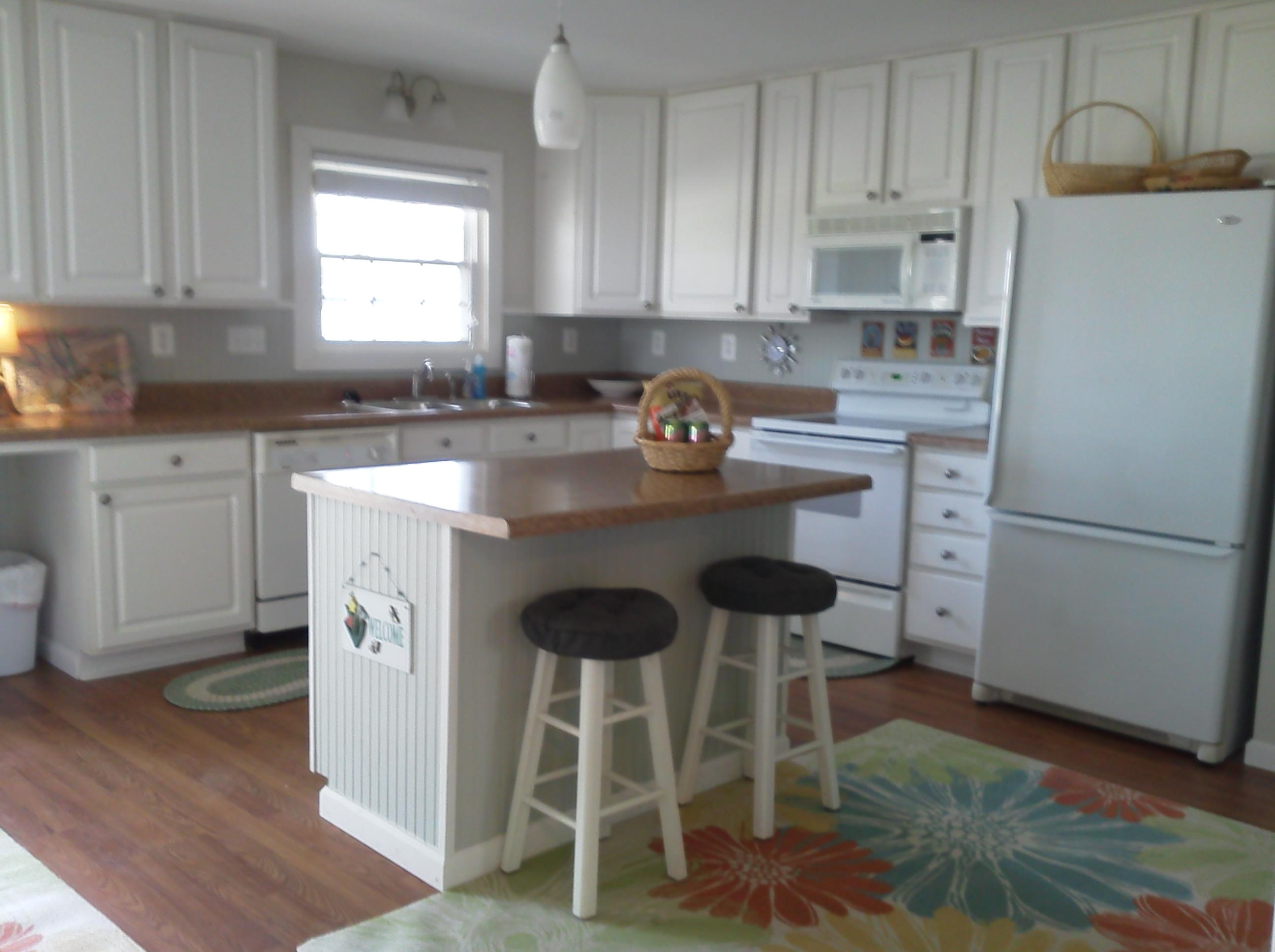 Kitchen with island seating.