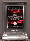 2014 Top women-owned businesses plaque.j