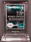 2018 Top women-owned businesses plaque 2