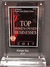 2017 Top women-owned businesses plaque.j