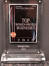 2015 Top women-owned businesses plaque.j