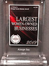2019 Largest women-owned businesses plaq