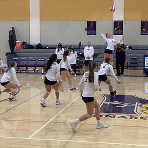 Mustang Volleyball Competes in First Indoor Game with Senior Night
