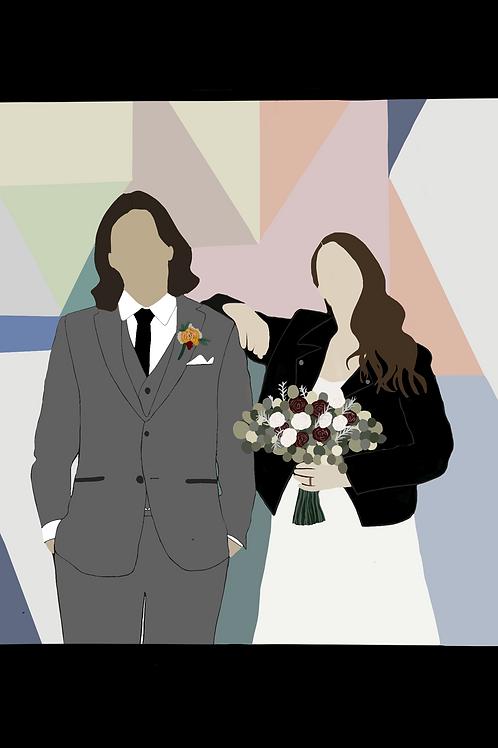 Detailed Digital Couple Portrait