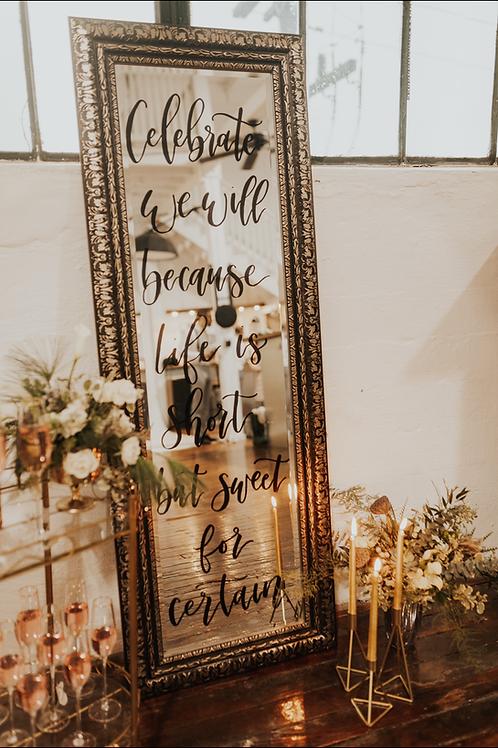 Large Black & Gold Mirror Rental