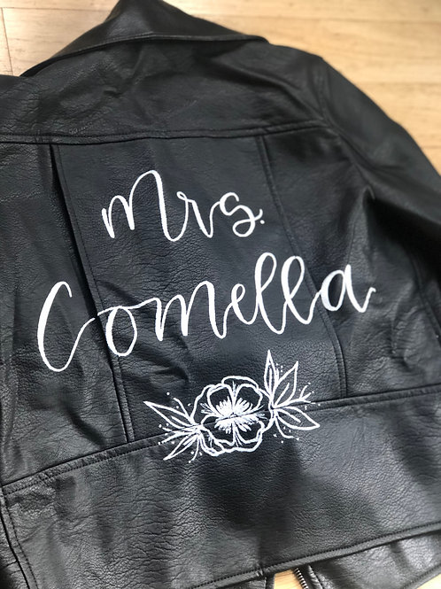 Faux Leather or Leather Jacket Calligraphy