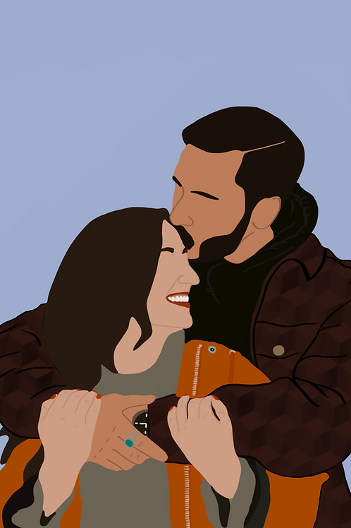 Detailed Digital Couple Portrait