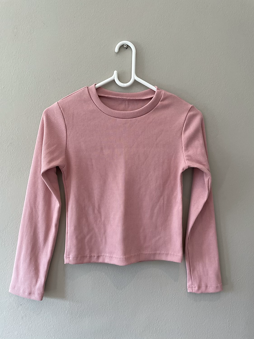 Ribbed Pink Crop