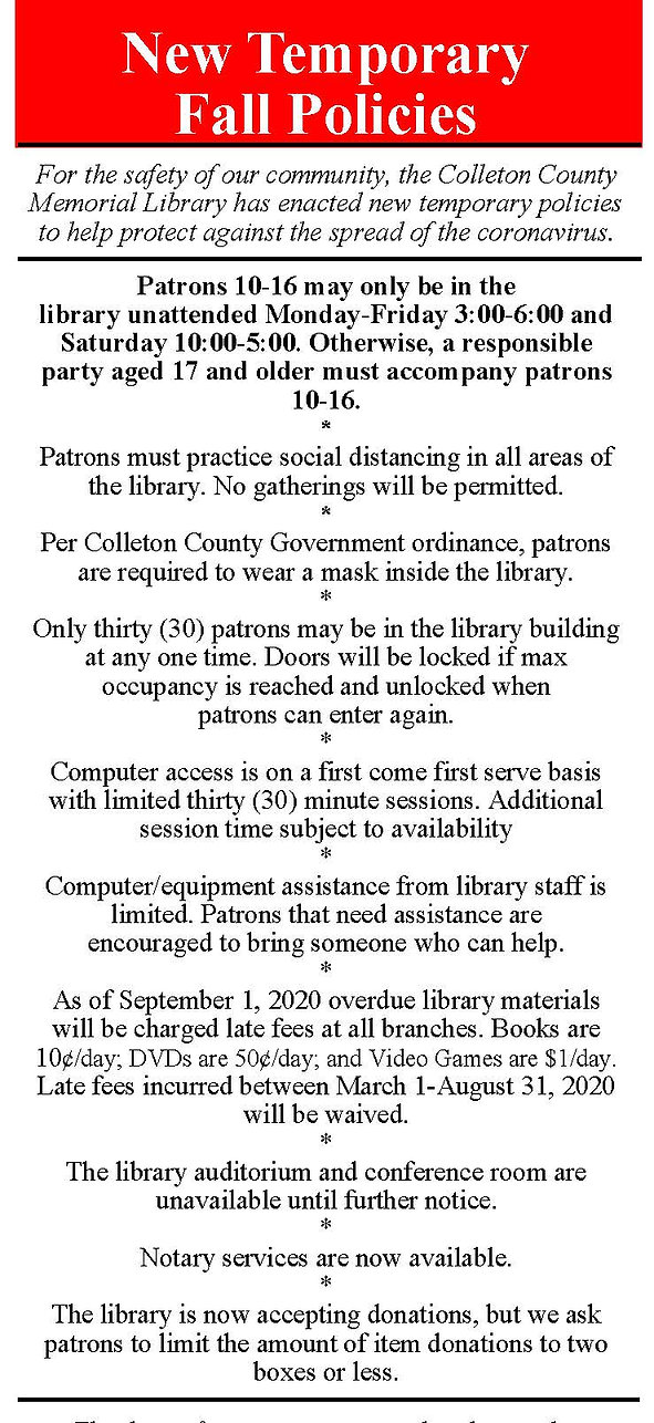 Fall Rules Pamphlet for Patrons 20201001