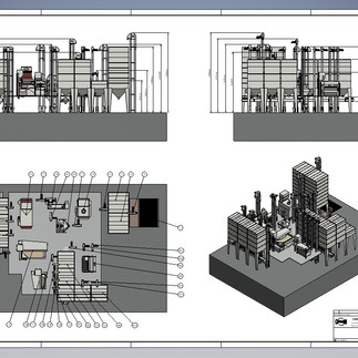 Blueprint of Cimbria Coffee Processing Plant