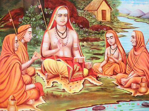 Adi shankaracharya with his disciples.jp