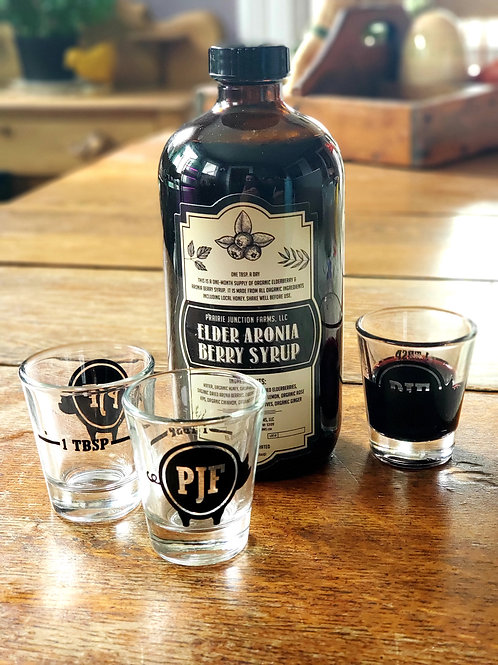 Elder Aronia Berry Syrup-With PJF Shotglass