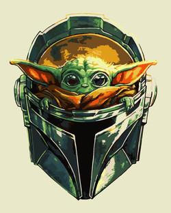 Малыш Йода в шлеме