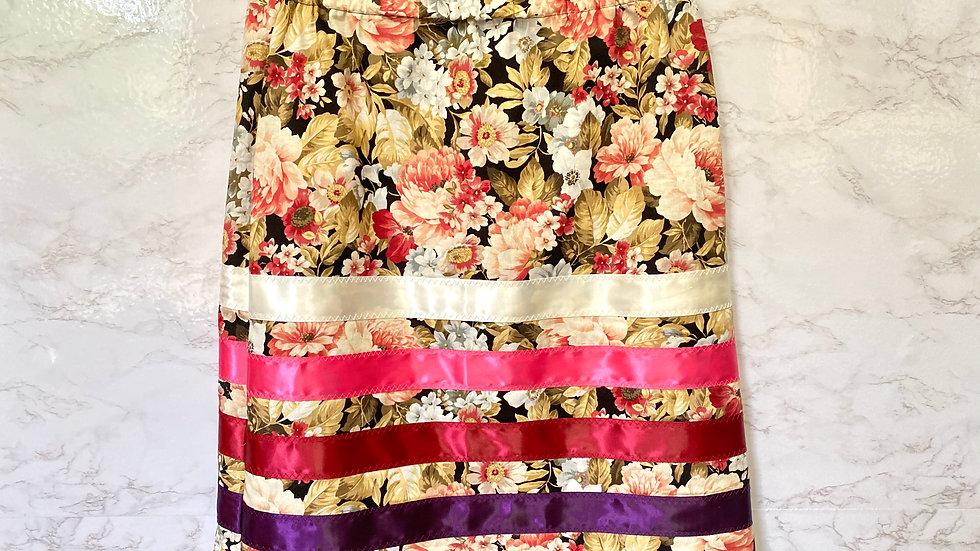 Black Floral Ribbon Skirt