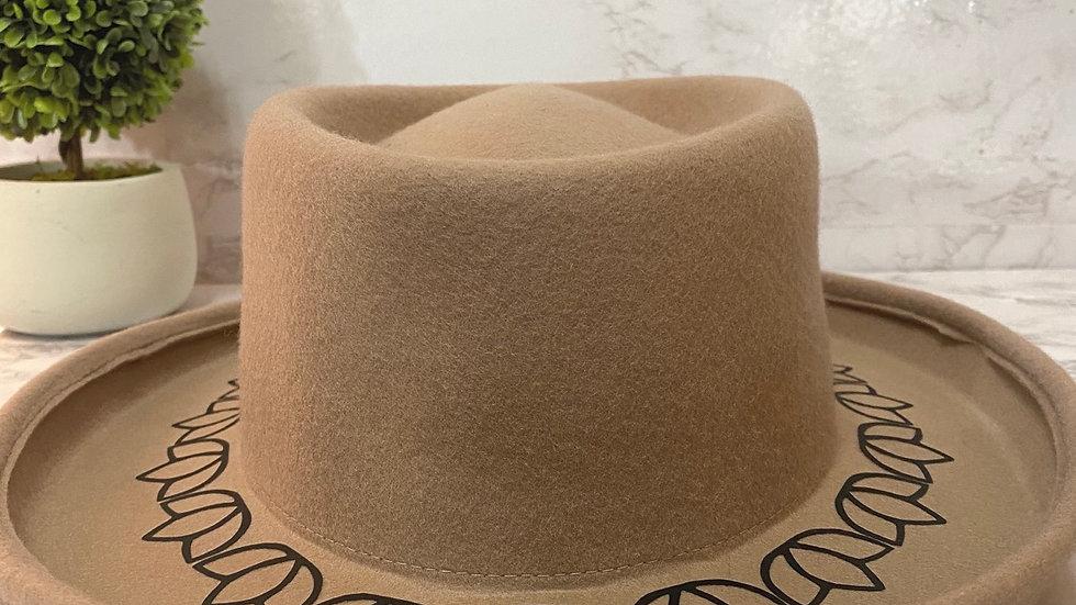 Beige Floral Wool Hat