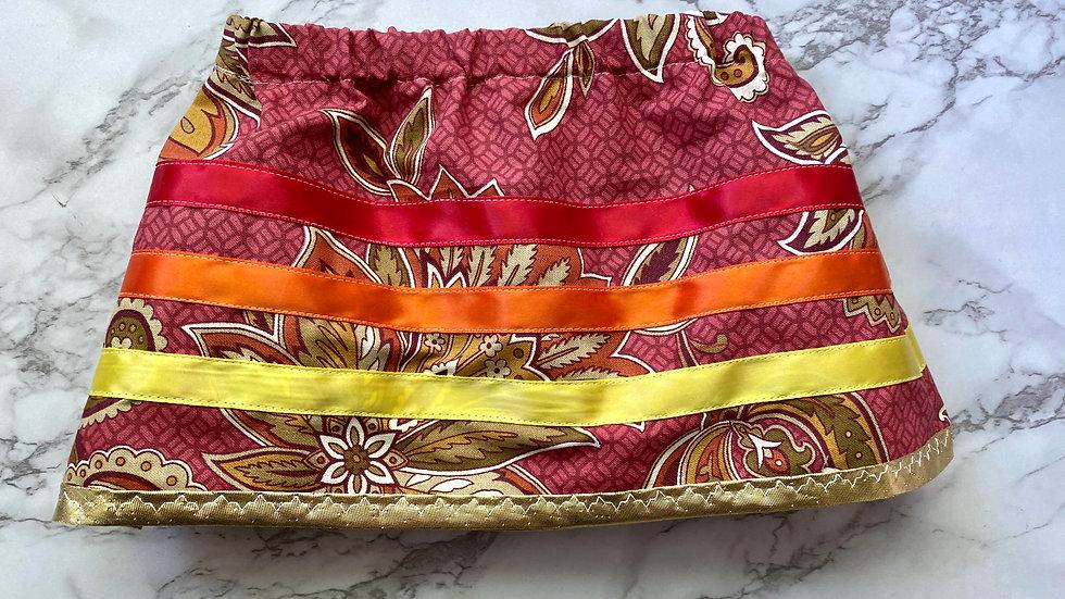 Red Floral Ribbon Skirt