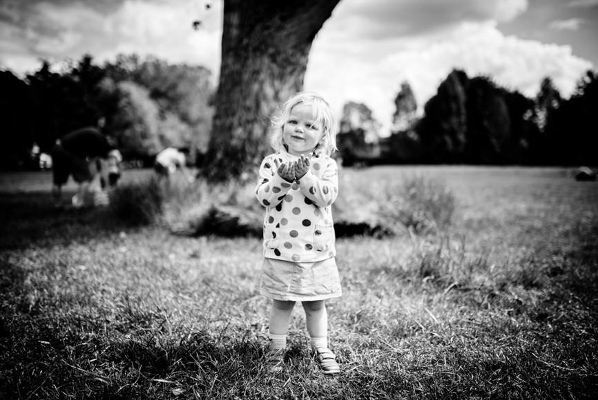 Black and white portrait of girl toddler