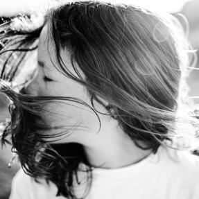 black and white portrait of girl swishin