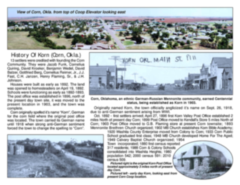 corn oklahoma, corn, oklahoma, history, town of corn, the town of corn, german community, mennonite community, german-russian community, german-russian mennonite community, history of the town of corn, 1903, 1918