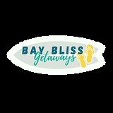 Bay Bliss Getaways logo v5 w surfboard o