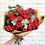 "Thumbnail: Букет из пионовидных роз ""Ред Пиано"" с эвкалиптом"