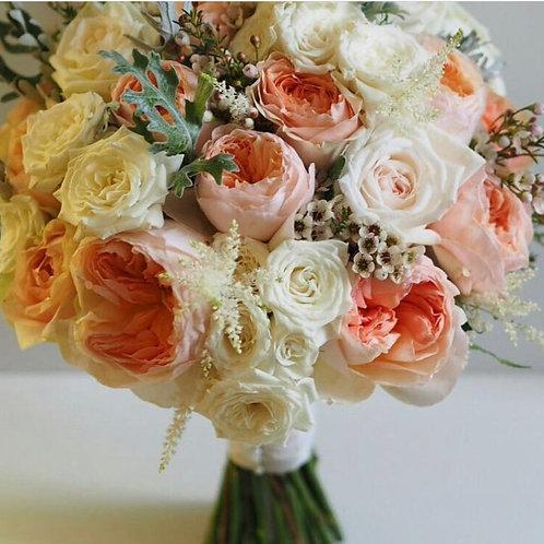 Персиковый букет из садовых роз Дэвида Остина