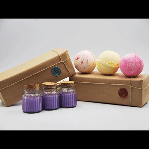Lavender Candles - Papaya, Pineapple & Very Berry Bath Bomb Gift Set