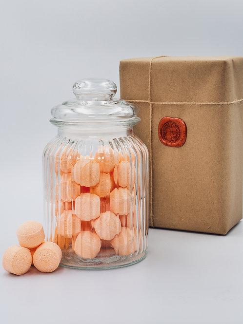 Mexican Orange Mini Bath Bombs Chill Pills - Glass Jar