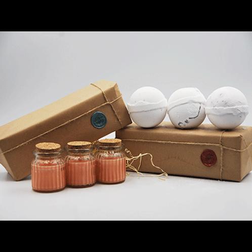 Spiced Orange Candles - Coconut, Dragon Fruit & Mangosteen Bath Bomb Gift Set