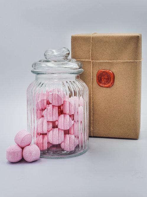 Rose Mini Bath Bomb Chill Pills - Glass Jar