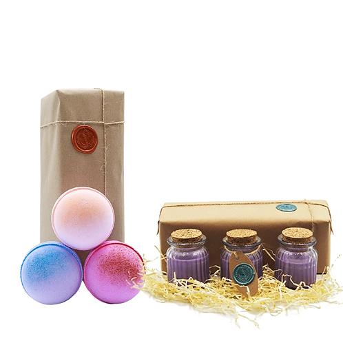Grapefruit, Bubble Gum, Raspberry Slush &  Lavender Candle, Bath bombGift Set