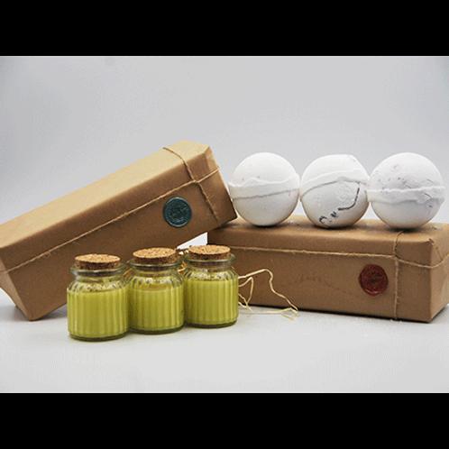 Honey Suckle Candles - Coconut, Dragon Fruit & Mangosteen Bath Bomb Gift Set