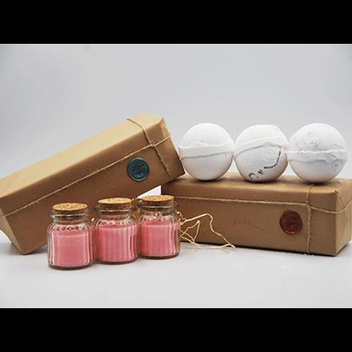 Jasmine Candles - Coconut, Dragon Fruit & Mangosteen Bath Bomb Gift Set