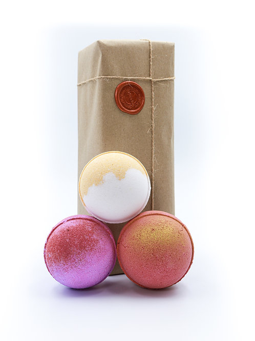 Strawberry Champagne, Lemon zest , Midnight Pomegranate Bath Bomb Gift Set