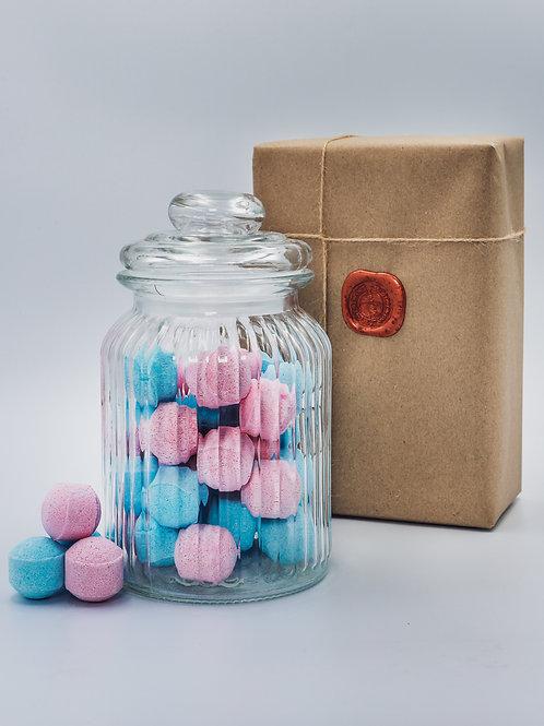 Sea Breeze and Rose Mini Bath Bomb Chill Pill Mix  - Glass Jar